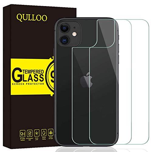 【2枚セット】 QULLOO iPhone 11 6.1 2019 専用 背面 ガラスフィルム 超薄 高硬度9H 防指紋 傷防止 耐衝撃 99%高透過率 飛散防止処理保護 iphone 11 6.1 液晶保護フィルム(透明)