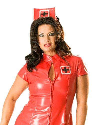 Honour Damen Kleid PVC rot Gr. 22 (4XL), PVC Kleidung, Vinyl Kleidung, glänzende Kleidung