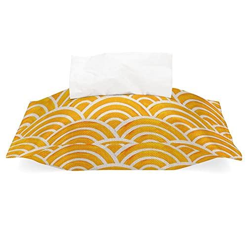 Soporte rectangular para caja de pañuelos Seigaiha Wave Marigold Palette Tissue Cover Servilletero, tela de lino y algodón, dispensador de pañuelos desmontable para casa, oficina y coche