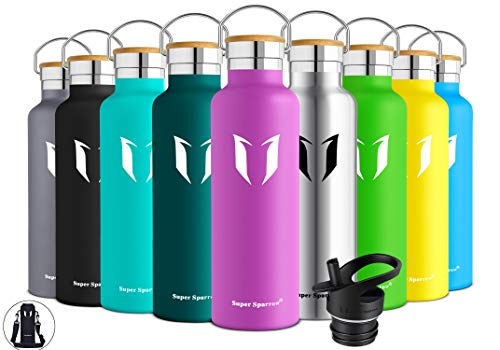 Super Sparrow Trinkflasche Edelstahl Wasserflasche - 750ml - Isolier Flasche mit Perfekte Thermosflasche für Das Laufen, Fitness, Yoga, Im Freien und Camping | Frei von BPA (Lila)