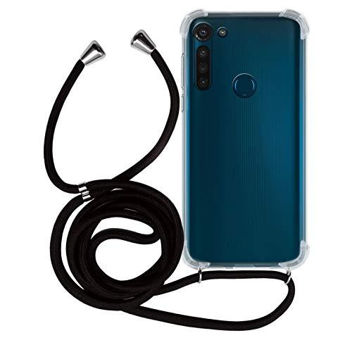 MyGadget Handykette für Motorola Moto G8 TPU Hülle mit Band - Handyhülle mit Handyband zum Umhängen Kordel Schnur Hülle Schutzhülle - Schwarz