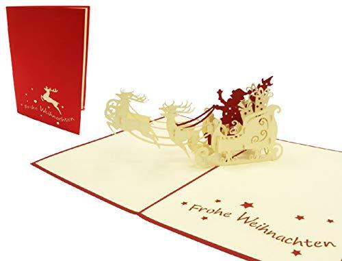 LIN17243, POP UP Karte, 3D Grußkarte, Klappkarten, Weihnachtsgeschenk, Weihnachtskarten, Weihnachtsmann, Rentiere, N420