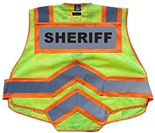 FIRE NINJA SHERIFF VEST-Class 2 Reflective - High Visibility Public Safety Vest - Bright Neon Reflective Colors - Double Breakaway Zipper - For Sheriff and Public Saftey Departments