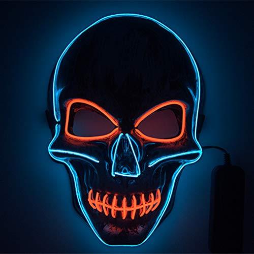 shirylzee Máscaras Halloween LED, Máscaras Halloween de Terror con 3 Modos Máscara Disfraz Luminosa Craneo Esqueleto para Halloween Navidad Cosplay Fiesta Show Mascarada (Estilo 2)