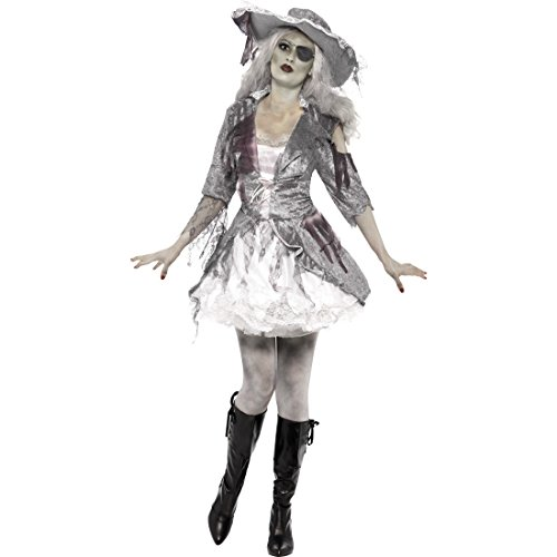 Amakando Disfraz de pirata zombi para mujer, talla L 44/46, disfraz de pirata zombi, disfraz de pirata sexy, disfraz de pirata, disfraz de pirata, disfraz de Halloween