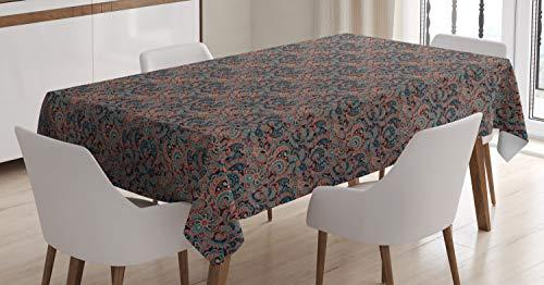ABAKUHAUS persisch Tischdecke, Orientalisches Paisley-Motiv, Für den Inn und Outdoor Bereich geeignet Waschbar Druck Klar Kein Verblassen, 140 x 170 cm, Mehrfarbig