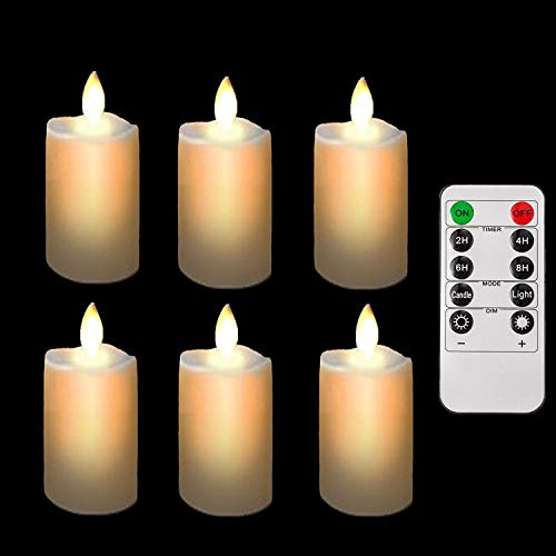 Burning Sister Battery Operated Led Remote Tea Lights Small Fake Votive Candles with Moving Flame Outdoor Flickering Flameless Electric Candle Light with Timer for Christmas(6 Pack with Remote)