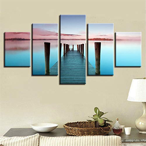 WWMJBH druk op canvas 5 panelen 200X100Cm - Decoratie muurkunst afbeelding Hd afdrukken 5 stuks bosbrug naar zee Mooi landschap canvas schilderij modulair affiche - kunstschilderijen voor thuis kantoor