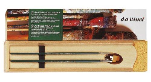 Da Vinci Series 5242 - Juego de 5 Pinceles para Pintura al óleo con Paleta de Mezcla de Madera, n/a, Marrón/Verde, 30 x 30 x 30 cm