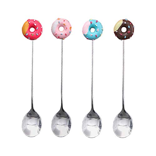Gracelife 4pcs Stainless Steel Stirring Spoons Cute Doughnut Coffee Spoon Mini Donut Dessert Spoon Ice Cream Tea Sugar Spoon