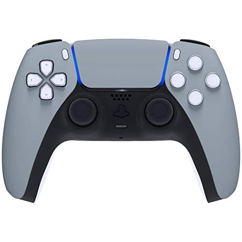 eXtremeRate New Hope Gray Touchpad Front Housing Shell for PS5 Controller, Soft Touch DIY Replacement Shell Custom Touch Pad Cover Faceplate for Playstation 5 Controller - Controller NOT Included