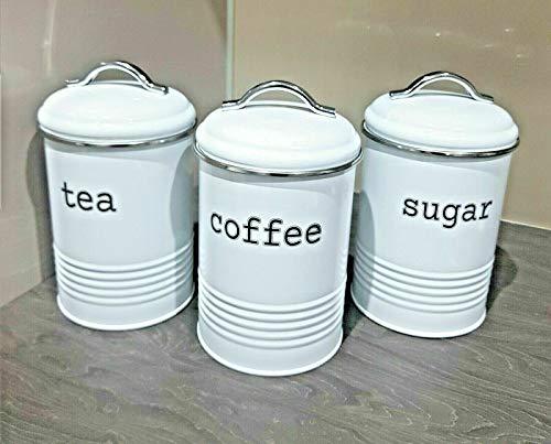 Enamel Tea Coffee Sugar Canisters Air Tight Lid Kitchen Storage Jars Pots Round Tin White,Cream,Grey,Copper (White)