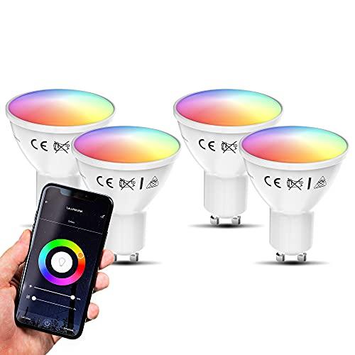 B.K.Licht lot de 4 ampoules connectées LED GU10, 5,5W, 350Lm, choix de couleur, dimmables, commande vocale par App, iOS & Android, Smartphone contrôle par WiFi