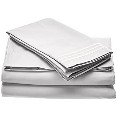 Elegant Comfort 1500 Thread Count Wrinkle,Fade and Stain Resistant 4-Piece Bed Sheet set, Deep Pocket, HypoAllergenic - Full White