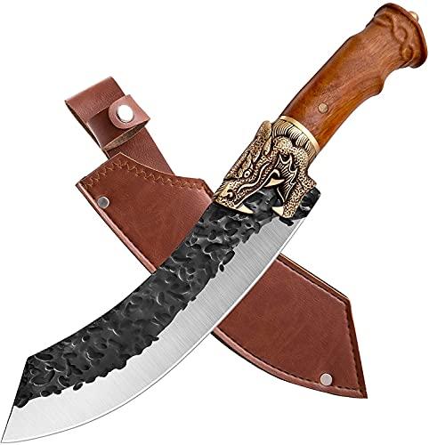 Cuchillo de deshuesar, cuchillo de chef, cuchillo de carnicero con funda de piel, cuchillo de cocina, cuchillo de exterior, para cocina, camping y carnicero, para cocina, barbacoa, caja de regalo