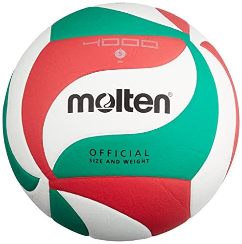 Molten - V5M4000, Pallone da pallavolo, colore: Bianco/Verde/Rosso