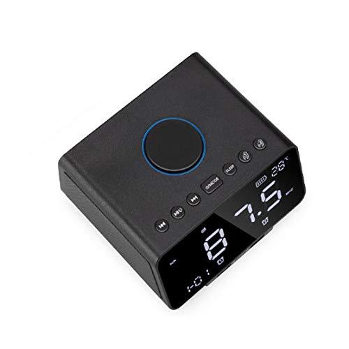 HiXB Despertador Snooze Bluetooth APT-X Radio FM Control Remoto con Funciones Completas Reloj Despertador de Gama Alta,Black