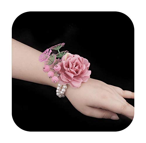 Art Flower 4 PcsLot New Handmade Korean Style Silk Artificial Hand Flowers for Wedding Bride Bridesmaid Wrist Flowers Decoration-Pink