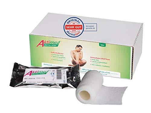 Aktimed derma relief+ - kühlender und pflegender Haut Verband, Zinkleimverband mit integrierten pflanzlichen Extrakten, 2in1 Zinkgelverband, elastische Bandage, produziert in Deutschland