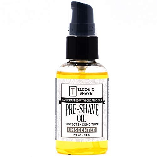 Taconic Shave Premium Natural Pre-Shave Oil (2 oz.) - Unscented - Made in The USA - Reduces Irritation and Provides a Smooth Shave with Safety, Cartridge & Barber Razors - A Shave Parlor Favorite