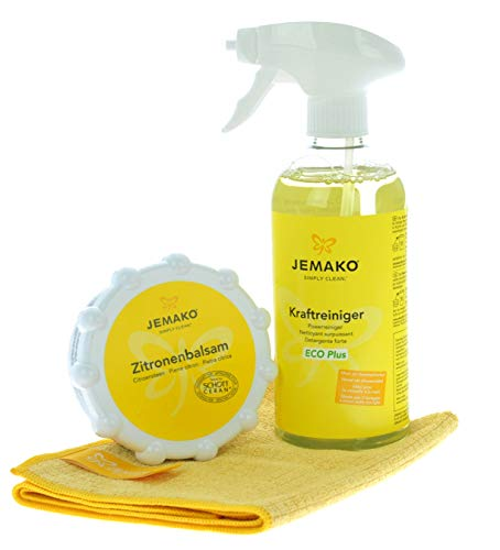 Jemako Kraftreiniger ECO Plus 500 ml - Zitronenbalsam 350 g - Profituch klein 35 x 40 cm - inkl. Sprühpumpe & Sinland Feinmaschiges-Wäschenetz