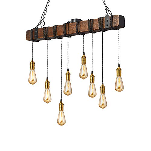 Flordeer Farmhouse Chandelier Rustic Pendant Lighting Industrial Wood Metal Vintage Ceiling Light Fixture 8 E26 Bulb Lights for Dining Table Kitchen Island Bar Retro Hanging Lamp 37.4 inches