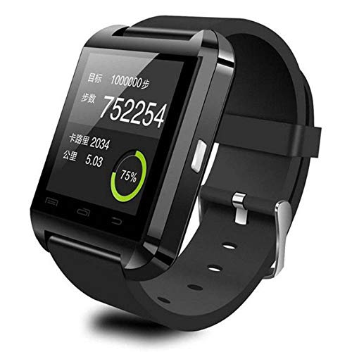 HaiQianXin U8 Bluetooth Reloj de Pulsera Inteligente compañero de teléfono para iOS Android iPhone Samsung HTC LG (Color : Black)
