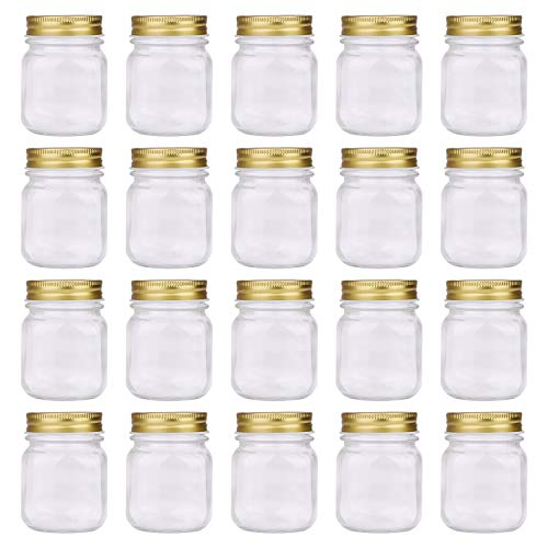 Regular Mouth Mason Jars,Encheng 5oz Clear Glass Jars with Lids(Gold),Small Spice Jars for Herb,Jelly,Jams,Wedding Favors,Shower Favors,Baby Foods,Mini Canning Jars Kitchen Storage Jars 20Pack …