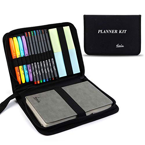 Undated Planner, 2020-2021 Monthly & Weekly Academic Planner Kit, Feela A5 Daily Student Notebook, School Supplies with Highlighters, Note Stickers, Fineliner Pens, Lasts 1 Year, Gray