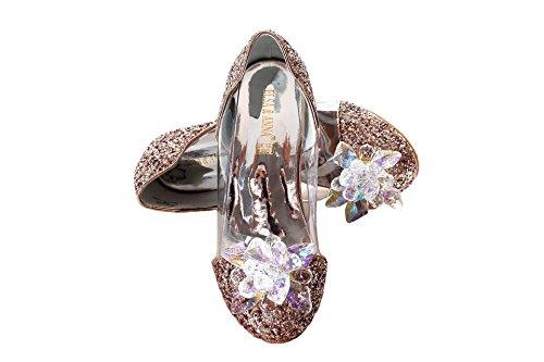 ELSA & ANNA® Mädchen Gute Qualität Schuhe Prinzessin Schnee Königin Gelee Partei Schuhe Sandalen GLD13-SH (Euro 26 - Innenlänge: 17.3cm, GLD13-SH)