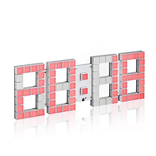 VSander Creativo Reloj De Pared De Matriz De Puntos 3D De 4 Dígitos, Control Remoto Multifunción LED Reloj Electrónico Silenciado, For El Hogar/Exterior/Público Ocasiones (43 * 15 * 2 Cm)