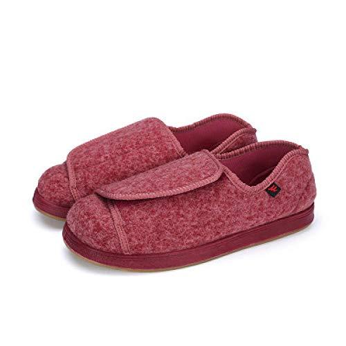 B/H Ajustable de Velcro Zapatillas Ortopédica,Zapatos de rehabilitación Sueltos para pies hinchados, Zapatos Antideslizantes para pie diabético-42_Red,Calzado para Calzado de Salud para la Dia