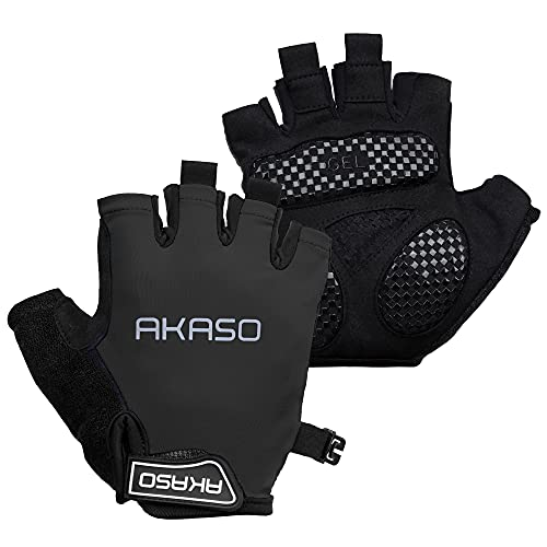 AKASO サイクルグローブ サイクリンググローブ 夏用 指切り 通気性 吸汗速乾 衝撃吸収パッド 耐磨耗性 脱着簡単 3色 男女兼用 手袋 自転車グローブ C10
