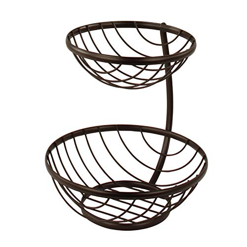 Spectrum Diversified Ashley 2 Tier Server Serving Basket Fruit Bowl & Produce Snack Display Stand, Bronze
