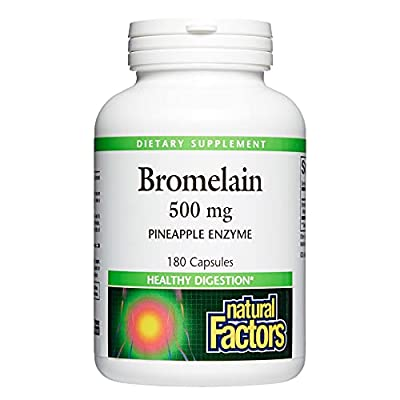 Natural Factors, Bromelain 500 mg, Enzyme Support for a Healthy Digestive System, 180 capsules (180 servings)