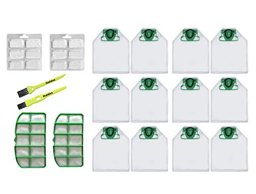 taldos Kit Filter und Beutel Staubsauger kompatible mit Vorwerk Kobold VK200 VK220 - Staubsaugerbeutel-Kit 12 Beutel + 2 Motor Filter + 12 Parfums + 2 Bürsten