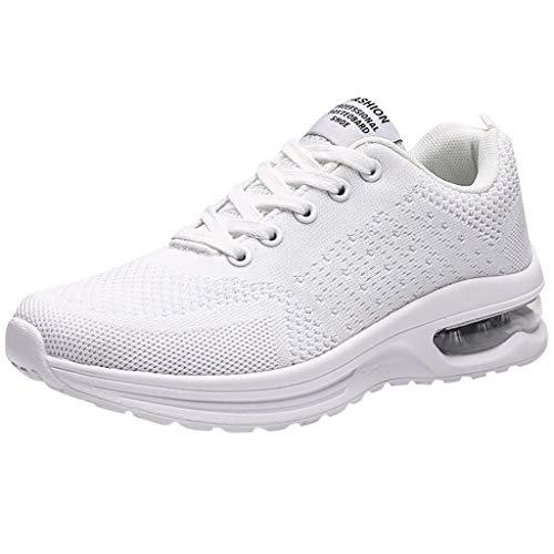 Moginp Turnschuhe Damen Laufschuhe Mesh Luftkissen Freizeitschuhe Walkingschuhe Outdoorschuhe Sneaker Sportschuhe für Running (36 EU, Weiß)