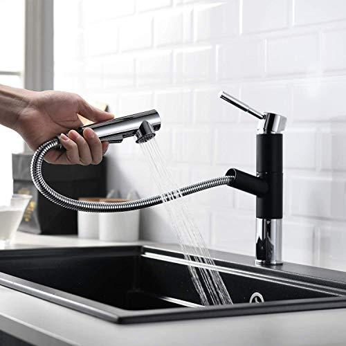 Lutriva Grifo de cocina moderno cromado y negro, grifo de cocina monomando con alcachofa extensible, giratorio 360°, 2 pulverizadores ModusYT190PC Kitchen FAUCET