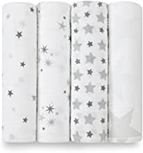 aden + anais Swaddle Blanket | Boutique Muslin Blankets for Girls & Boys | Baby Receiving Swaddles | Ideal Newborn & Infant Swaddling Set | Perfect Shower Gifts, 4 Pack, Twinkle