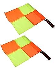 Sharplace 2 Piezas de Banderas de Fútbol Lineman Árbitro a Cuadros de Entrenamiento Deportivo Material de Acero Inoxidable