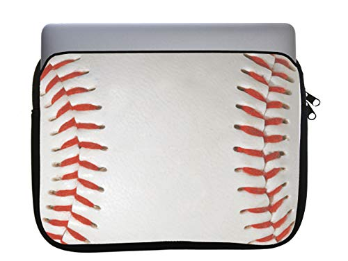 Baseball Base Ball Background Red Laces 11x14 inch Neoprene Zippered Laptop Sleeve Bag by Moonlight Printing for MacBook or Any Other Laptop