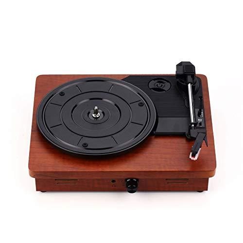QinWenYan Tocadiscos de Vinilo Portátil Classic Gramophone Vinyl Record Player Fonógrafo Antiguo Fonógrafo Simple Ponente Incorporado para Oficina (Color : Marrón, Size : 30x25x10cm)