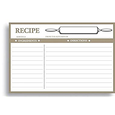 Home Advantage - 50 Double Sided Recipe Cards, 4x6 inches - Vintage Kitchen Design Set