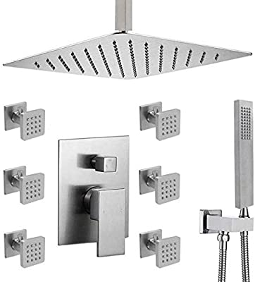 Enga 16 Inch Ceiling Rain Shower Head Combo System with Body Jets and Handheld, Shower Faucet Fixture Set