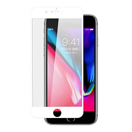 ARGOO Protector de Pantalla para iPhone 8 iPhone 7 Funda de Vidrio Templado Protector de Pantalla amigable Pedora para Pantalla Completa Protección de Borde a Borde de película (Blanco)