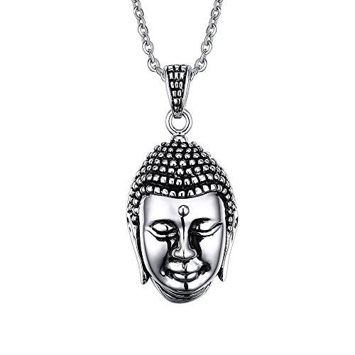 UM joyería Hombres Mujer Acero inoxidable Shakyamuni Buda Mala Colgante collares