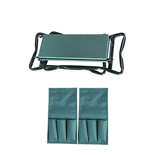 MPZZ Garden Kneeler and Seat,with 2 Bonus Tool Pouches Foldable Stool with Thicken Soft Kneeling Pad Outdoor Foldable Sturdy Gardening Tools for Gardeners