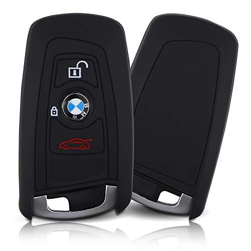 ASARAH Cover chiavi auto PREMIUM in silicone compatibile con BMW, Copertura protettiva per chiavi dell'auto, Copertina per tipo di chiave 3BKL - Nero