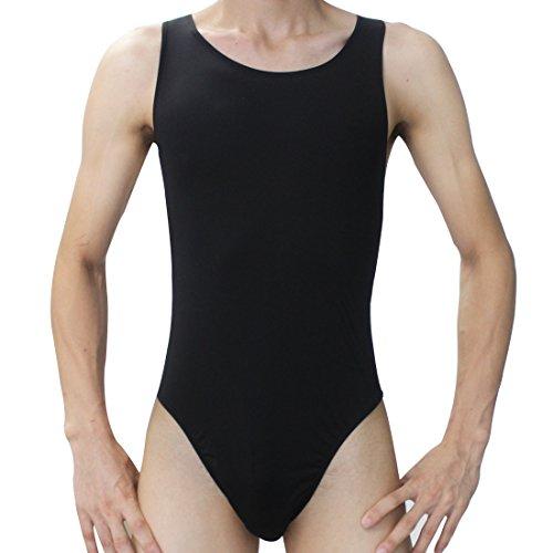 iEFiEL Slim Sexy Herren Körperformung Unterhemd Overall Männer String Body Bodysuit Unterwäsche (Schwarz)