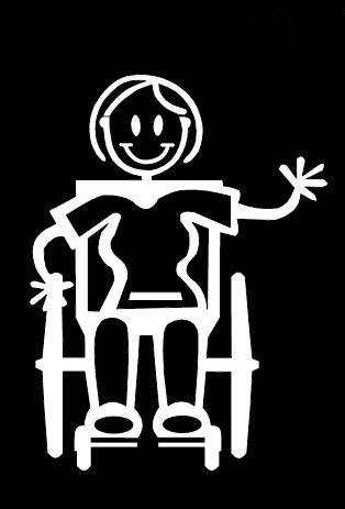 My Stick Figure Family Autoaufkleber Aufkleber Sticker Decal Erwachsene Frau im Rollstuhl F20